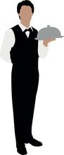Vector Illustration Of A Waiter