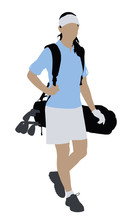 Illustration Of A Female Golfe...