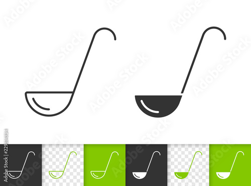 Ladle simple black line vector icon Canvas Print