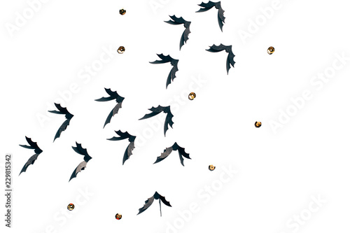 Fényképezés  Halloween confetti with bats, boo and sparkles isolated on white