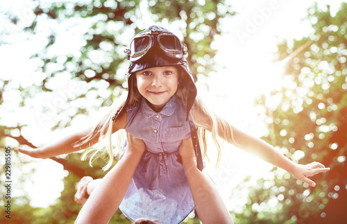 Acrylic Prints Artist KB Portrait of a little flying pilot-girl