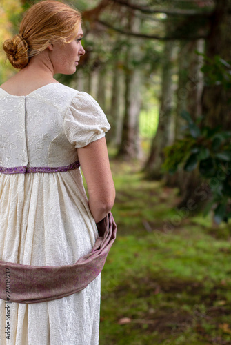 Canvas Print Regency woman in cream embroidered gown