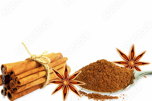 Fotografie, Obraz  cinnamon stick spice with star anise in white background