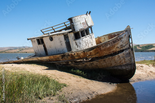 Photo Point Reyes shipwreck, an abandoned boat located in Inverness California, in the