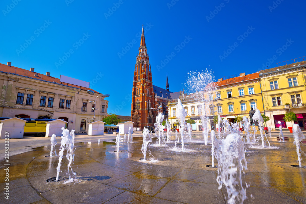 Fototapety, obrazy: Osijek main square fountain and cathedral view