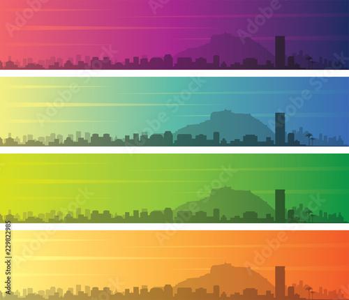 Alicante Multiple Color Gradient Skyline Banner Fototapete