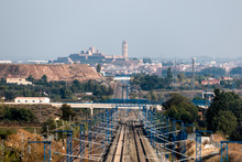 High Speed Train Line And The City Of Lleida In The Background (Spain)