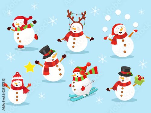 Cute Snowman Set 2 Canvas Print