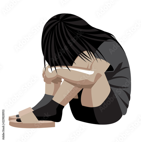 Fototapeta  Violenza domestica, bambina in un angolo, donna depressione, maltrattamento, pic