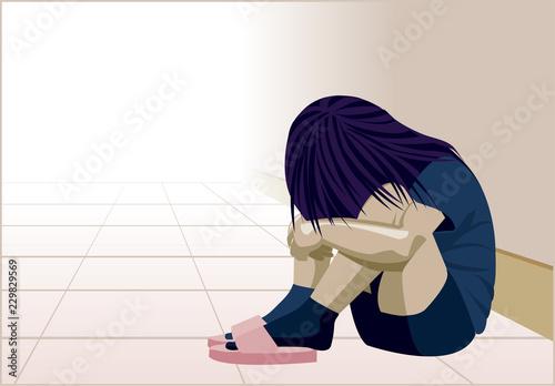 Obraz na plátně  Violenza domestica, bambina in un angolo, donna depressione, maltrattamento, pic