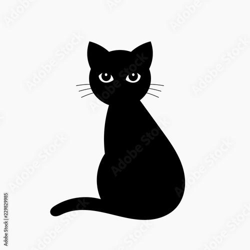 Black cat isolated on white Wallpaper Mural