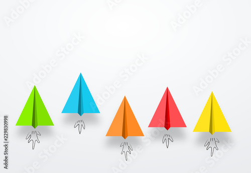 colorful paper planes or rockets , Business competition, start-up, boost or success concept Canvas Print