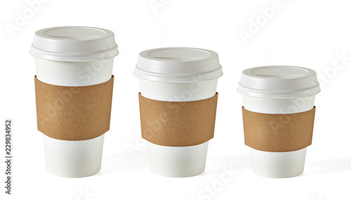 Fototapeta Large medium and small, three sizes blank take away coffee cups mockup or mock up template isolated on white background  obraz