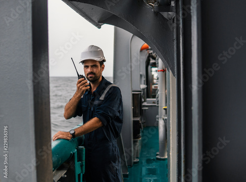 Marine Deck Officer or Chief mate on deck of vessel or ship   He