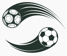 Soccer Football Moving Swoosh Elements, Dynamic Sport Sign. Vector