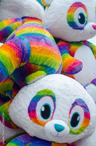 Fotografie, Obraz  Bunch of big rainbow stuffed bears