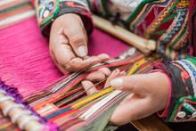 Quechua Woman Weaving A Tradit...