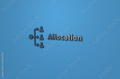 Illustration of Allocation with dark text on blue background Canvas Print