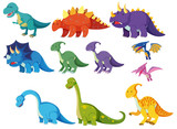 Fototapeta Dinusie - Set of cartoon dinosaurs