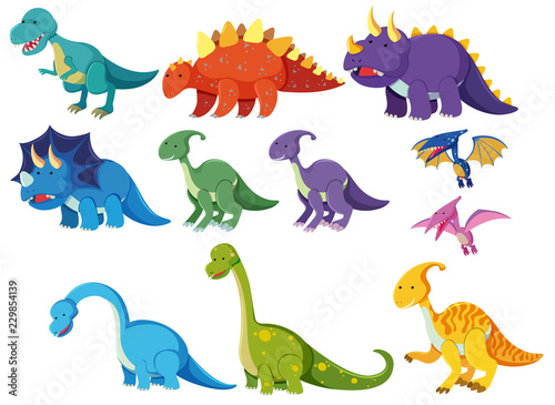 Set of cartoon dinosaurs Canvas Print