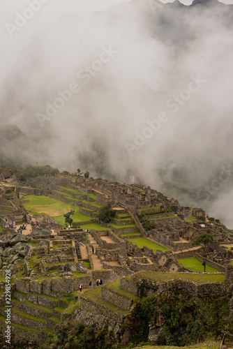 Landscape of Machu Picchu ruins in Peru.