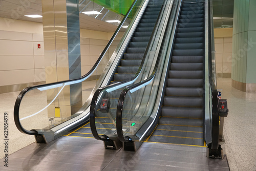 Photo close up on escalator in the airport