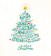 Holiday Greeting Card With Inspiring Handwritten Words In Christmas Tree Shape. Word Cloud Design.