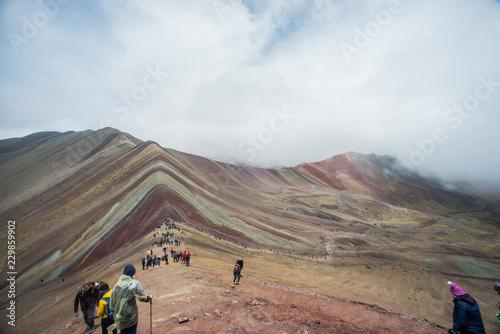 Keuken foto achterwand Marokko Vinicunca, also called Montaña de Siete Colores, Montaña de Colores or Rainbow Mountain, in a cloudy day, in Perù.