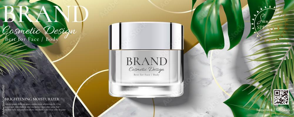 Fototapeta Cosmetic cream jar ads