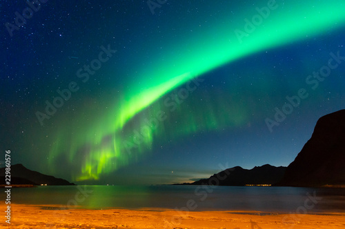 Poster Aurore polaire The polar lights in Norway. Tromso.Grotfjord
