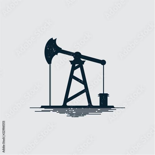 Fototapeta vintage oil rig icon siolated obraz