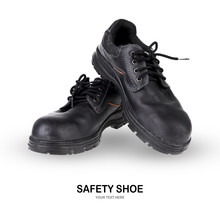 Safety Shoe Black Work Boots On White Background .
