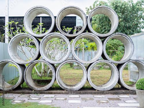 Valokuva  Concrete drains pipes