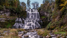 16:9 Scenic View Of Chittenango Falls Is Located In Cazenovia, New York, USA - A Beautiful Travel Destination