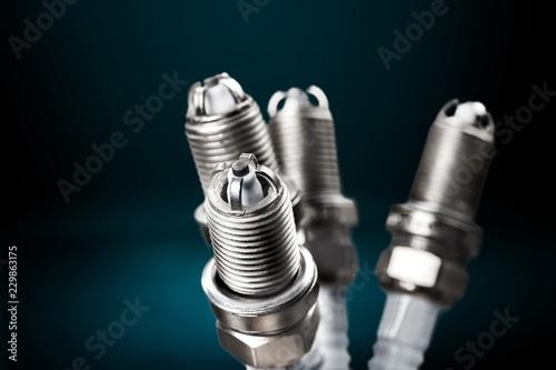 Fotografie, Obraz Ignition spark plug with platinum electrode. Automotive