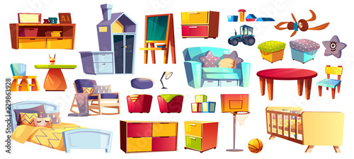 Big set of wooden furniture, soft toys and accessories for ...