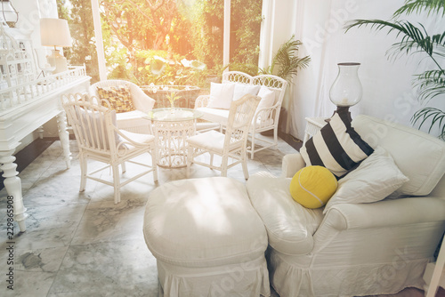 home interior decoration Spacious, white living room with ...
