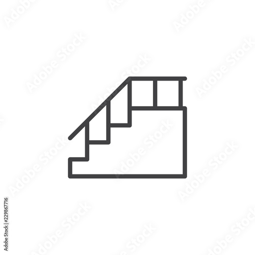 Stairs with handrail outline icon Wallpaper Mural
