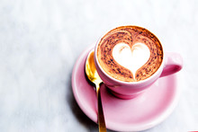 Cappuccino Cup With Heart Latte Art On Marble Table Background