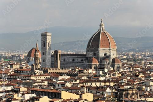 Stadtpanorama mit Dom Santa Maria del Fiore, Ausblick vom Monte alle Croci, Florenz, Toskana, Italien, Europa