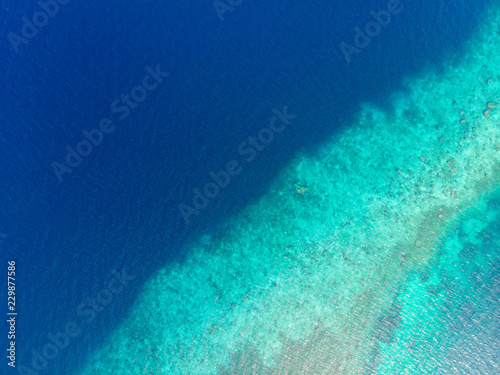 Staande foto Koraalriffen Aerial top down view coral reef tropical caribbean sea, turquoise blue water. Indonesia Moluccas archipelago, Kei Islands, Banda Sea. Top travel destination, best diving snorkeling.