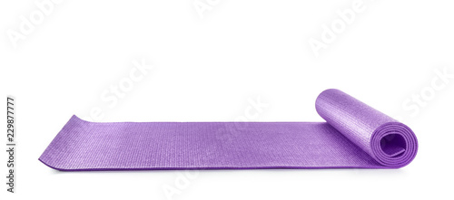 Obraz Color yoga mat on white background - fototapety do salonu