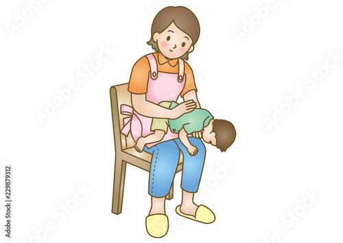 応急手当イラスト05:乳幼児の急病・誤飲 Canvas Print