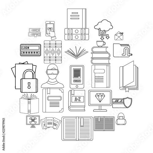 Book icons set Tableau sur Toile