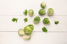 Fresh Brussels Sprouts On Whit...