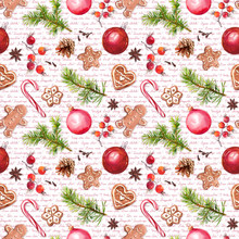 Christmas Baubles, Ginger Bread Cookies, Christmas Tree Branches, Red Berries. Seamless Pattern With Congratulations Text. Watercolor