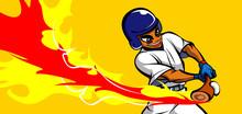 Baseball Player Hitting A Baseball With A Baseball Bat
