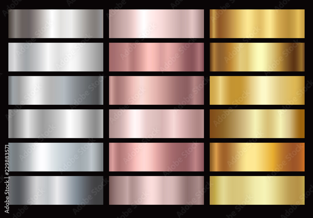 Fototapety, obrazy: Gold rose, silver and golden foil texture gradation background set. Vector shiny and metalic gradient collection for border, frame, ribbon, label design.
