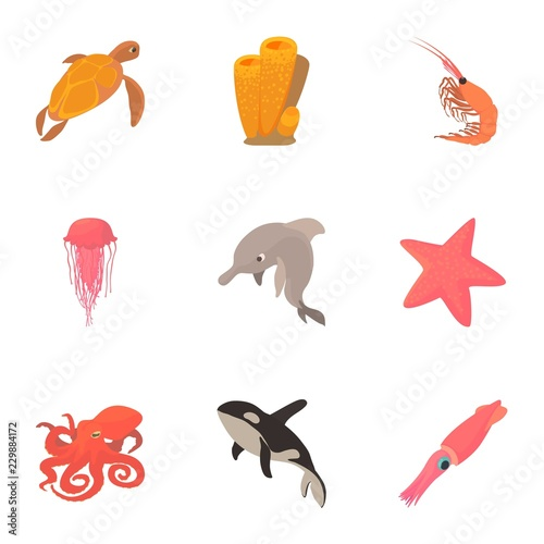 Foto  Peaceful water animal icons set