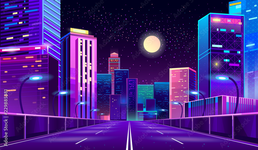 Fototapeta Vector concept background with night city illuminated with neon glowing lights. Futuristic cityscape in blue and violet colors, panorama with modern buildings and skyscrapers, highway